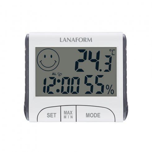 Lanaform digitális hőmérő, óra és páratartalom mérő